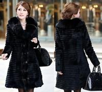 New 2013 Winter Coat Women Coats Real Rex Rabbit  Fox Collar Fur Coat Women Coats