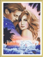 New arrived,lovers embrace cross stitch,european style,South Korea cloth,58*74cm,import thread,drawing line,free shipping