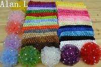 "35 Lots Hair accessory baby girl 26 Crochet Headbands & 9pcs 3"" Carnations Chiffon Flower clips"