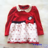 2 allo lugh child long-sleeve dress long design polka dot sweatshirt basic dress