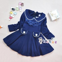 Child long-sleeve spring and autumn one-piece dress long-sleeve peter pan collar dresses female child clothing basic dress
