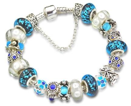 Blue murano glass bead charm beaded fit european jewelry bracelets
