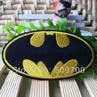 50pcs 9cm x4.8cm Embroidered Goldon Batman Logo Iron On Patches, Famous Superhero Patch, DIY Cloth Accessories,