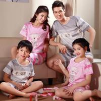 Summer short-sleeve 100% cotton bear lovers female sleepwear parent-child lounge set 2