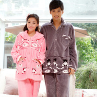 Winter sleepwear new arrival flannel lovers sleep set long-sleeve thickening coral fleece sleepwear lounge