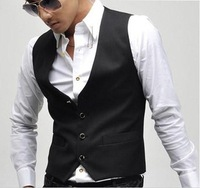 New arrival free shipping 2013 men's fashion casual cotton one button suit vest man casual v neck sleeveless jacket coat