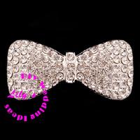 wedding bow crystal rhinestone brooch embellishment, wedding heart diamante brooch, DIY Wedding supplies,100pcs/lot