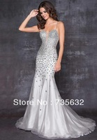 Free shipping Sheath/Column Spaghetti V Neck Sweep/Brush backless sexy crystals Organza Prom Gown Evening dress A288