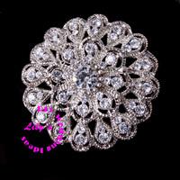 45mm crystal rhinestone brooch embellishment, wedding heart diamante brooch, DIY Wedding supplies,100pcs/lot