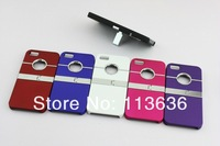 Wholesale Metal Rubberized Hard Case Cover with Stand for iPhone 5 5G Free Shipping