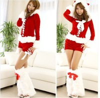 New Women sexy christmas costume Princess Dress cheap fancy dress christmas elf costume Full sleeves costume with warm legging