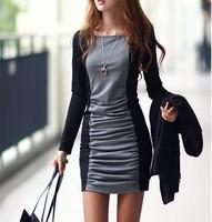 NEW!!! Dresses women  long sleeve corrugation dress render girl dress casual style vestido de festa Free Shipping  JQ15