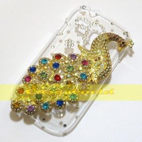 1 Pcs Handmade Bling Diamond Peacock Clear Transparent Hard Back Case Cover For Samsung Galaxy S3 Mini i8190