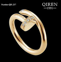 High quality 2013 screw love ring titanium steel gold color finger ring with CZ stone lover ring QR-237