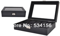 Free shipping Black luxury leather jewelry watches boxes display watches 10 pillow case watch box