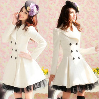 Wholesale New  Slim Casual Women's Wool cashmere Coats double breasted trench Fashion Style 2-7