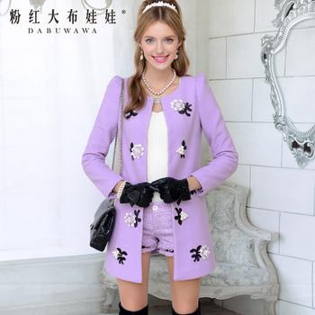 Woolen outerwear female winter 2013 purple pearl flower medium-long overcoat