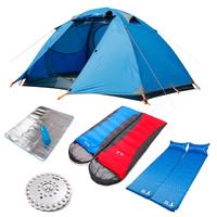Double tent bundle double layer aluminum tent field camping tent bundle 7 piece set