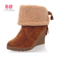 2013 autumn and winter boots sweet ribbon winter boots women's cotton-padded shoes female high-heeled boots platform shoes