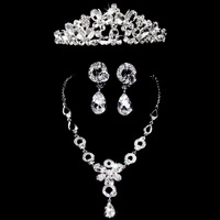The bride accessories three pieces set necklace earrings hair accessory wedding jewelry wedding accessories