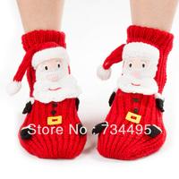 Winter Christmas socks adult floor socks thickening women's slip-resistant thermal cartoon gift knitted wool socks wholesale