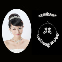 Alloy rhinestone the bride necklace hair accessory triangle xl08 set