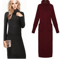 2013 autumn and winter turtleneck hot-selling twisted design knitted long sweater one-piece dress fashion slim hip skirt