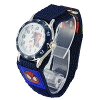 Light Blue Lovely 3D Cartoon Spiderman Watch Children Kids Girls Boys Students Quartz Wristwatches.