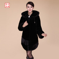 Autumn and winter female 2013 medium-long slim thick fur coat long-sleeve imitation mink