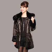 2012 women's quinquagenarian winter clothes imitation mink overcoat marten velvet outerwear faux with a hood