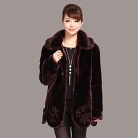 2013 quinquagenarian women's winter quinquagenarian imitation mink overcoat marten velvet outerwear plus size
