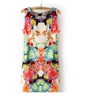 Angelababy star style fashion slim waist sleeveless vintage flower one-piece dress 200-15