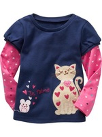 2-6 years baby girls spring autumn navy blue tshirt children cartoon mouse and cat sweatshirts 1pc retail 5483