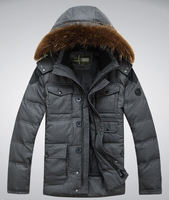 Larger pocket Men's Down Coat Winter Warm Down Jacket For Men  Outwear Down