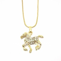 free shipping 6pcs/lot  fashion jewelry items metal rhinestone animal horse pendant necklace