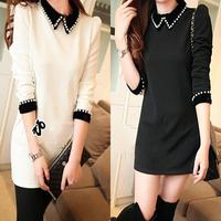 New arrival 2013 autumn and winter women peter pan collar  slim basic long-sleeve hip one-piece dress