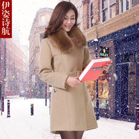 2013 winter slim medium-long woolen outerwear female plus size fur collar woolen overcoat