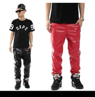 Top Quality,2013 men`s leather jogger original design pu trouser red casual pants