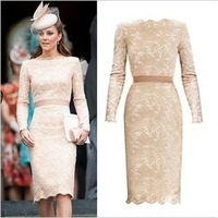 Fashion high quality women's 2013 autumn kate formal ol long-sleeve slim lace dress champagne