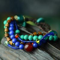 FREE SHIPPING National trend bracelet bohemia multi-layer turquoise agate colored glaze bracelet 25054