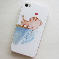 free shipping unique design new leather hard case for iphone 5 5g 5s 4g 4s 4 proctective cover cute cat and fish cartoon case