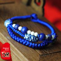 National trend bracelet accessories vintage blue and white porcelain handmade the preparation of blue bracelet Women 01097