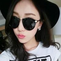 Retro Star Style Round Metal Frame Frogskin Cat Eye Women Sunglasses Brand Designer 2013 Free Shipping