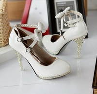 Hot selling Hot selling White PU fashion women's high-heeled shoes Bridal shoes hasp Wedding shoes EUR size 35-39 Free shipping
