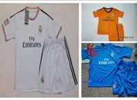 A+++ Top Kids Baby Thai Sports Suit 2014 Real Madri Kit Jersey 13 14 Madrid Soccer Suit 14 Futbol Short Blank Yellow Blue White