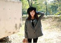 Autumn and winter outerwear wool coat medium-long grey woolen suit jacket female