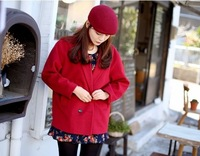 Winter casual elegant vintage woolen outerwear wool coat women