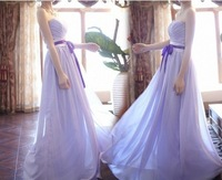 Bridesmaid dress long design purple the waist lacing chiffon wedding dress
