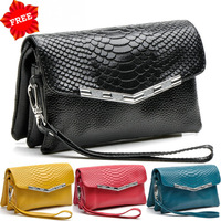 2013 Crocodile Pattern Day Clutches Party Genuine Leather Casual Fashion Designer Small Shoulder Bags Women Messenger Bag Black