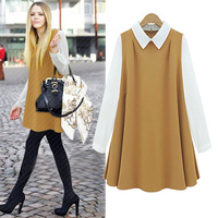 Fashion autumn 2013 quality camel chiffon loose peter pan collar one-piece dress 9857